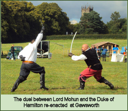 Re-enactment of the duel between Lord Mohun and the Duke of Hamilton